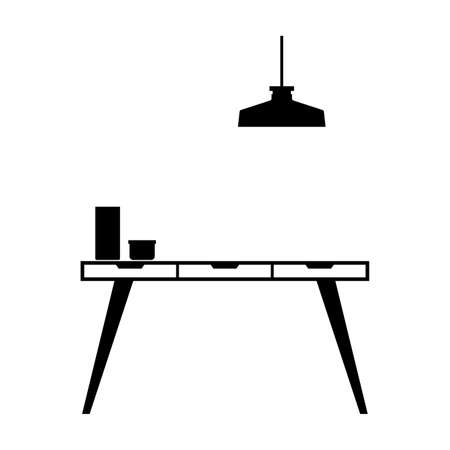 Workstation desk with a lamp over it - Vector