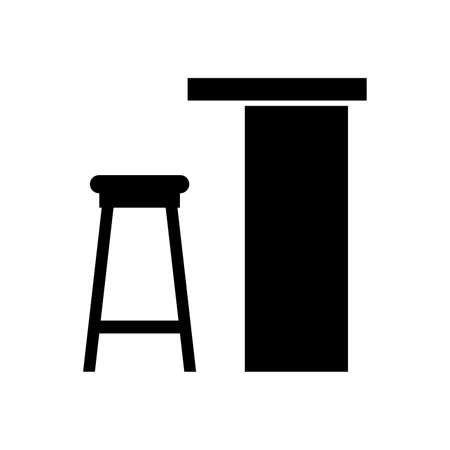 Bar counter and a stool - Vector