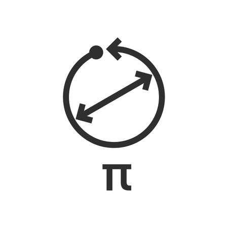 Pi is a mathematical constant. Ratio of a circle circumference to its diameter. - Vector 向量圖像