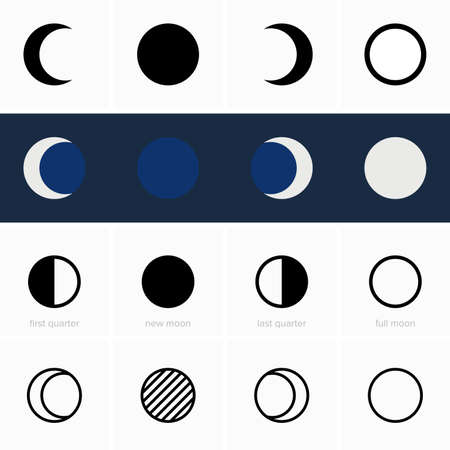 Four main phases of the moon - Vector