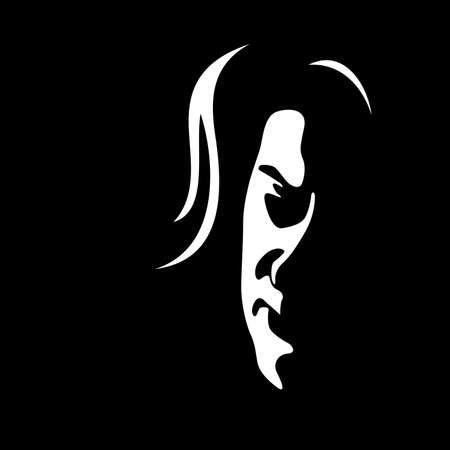 Adult woman's face on black background - Vector