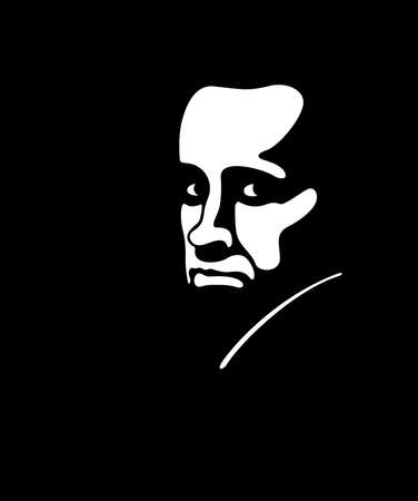 Stern, severe man on the black background - Vector