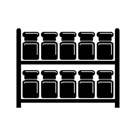 Jars on racks, spices storage - Vector