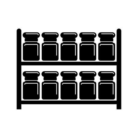 Jars on racks, spices storage - Vector Archivio Fotografico - 123065203