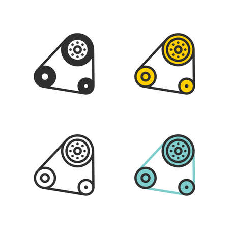 Car parts, power transmission components, belt drive, tension rollers - Vector Vector Illustration