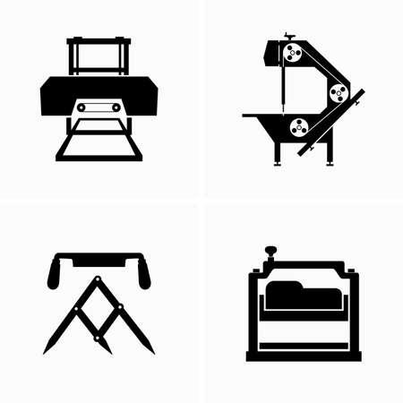 Woodworking, sawmill equipment - Vector Illusztráció