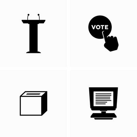 Attributes of election campaign and election process - Vector