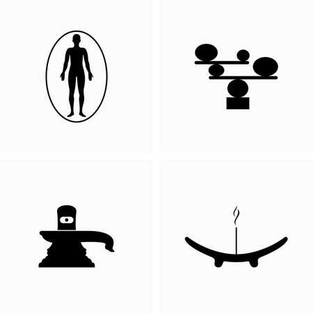 Spiritual, esoteric, equilibrium items and symbols - Vector