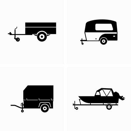 Auto utilitario y remolque de carga - Vector