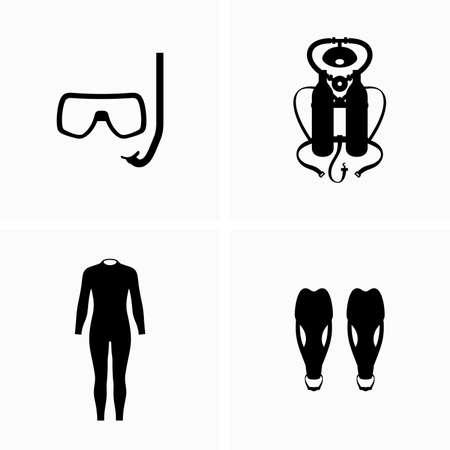 Duiken, duikuitrusting, wetsuit en vinnen - Vector
