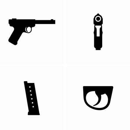 Gun, automatic magazine, ammunition storage, trigger 矢量图像