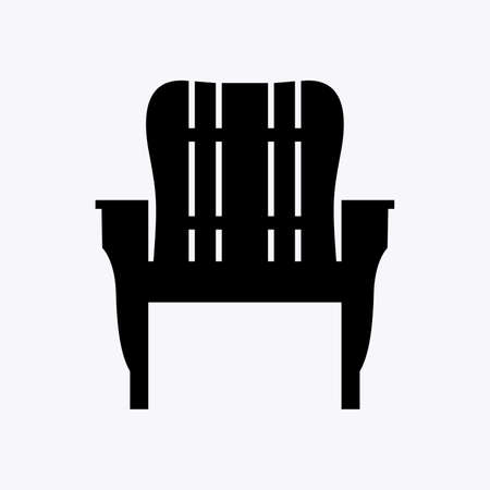 Wooden outdoor chair with armrests for backyard, patio, garden and beach Illustration