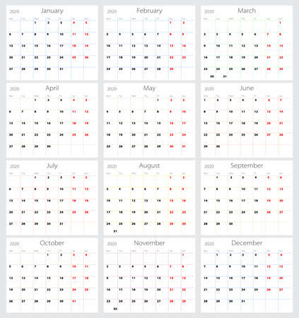 Vector calendar 2020 (English version)