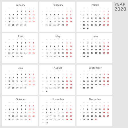 Vector calendar 2020 (English version)