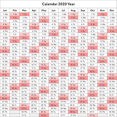Vector calendar 2020 (English version) Illustration