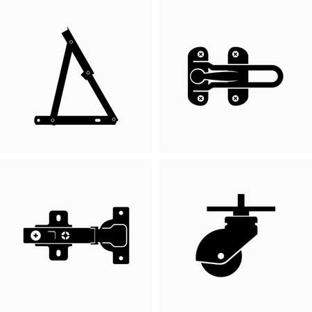Furniture fittings, hardware, accessories and connection details Иллюстрация
