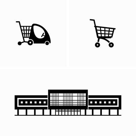Shopping mall and grocery trolley carts Illustration
