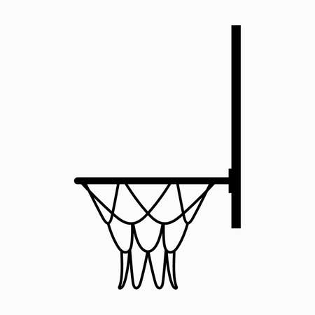 Basketball backboard with an attached hoop and a suspended net basket Banque d'images - 138285231