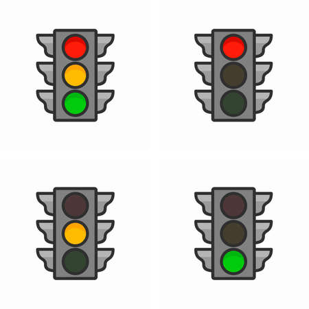Traffic light or semaphore and color phases codes, red (stop), amber (warning), green (proceed)