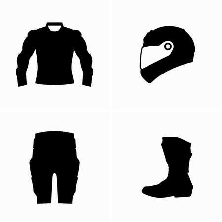 Motorrad-Körperschutz, Sicherheitsausrüstung, Rüstungsgegenstände Vektorgrafik