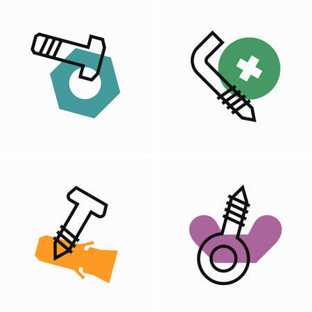 Bolts, nuts and fasteners flat and outline icon 벡터 (일러스트)