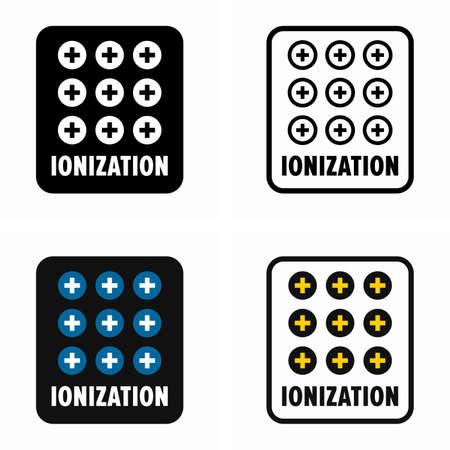 Ionization, purifying system information sign Çizim