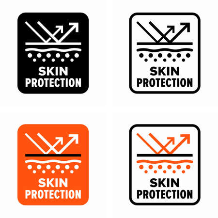 Skin protection and care from external factors information sign