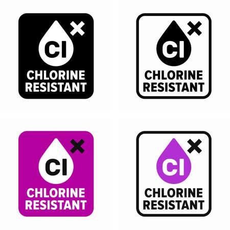 Chlorine resistant item property information sign Stock Illustratie