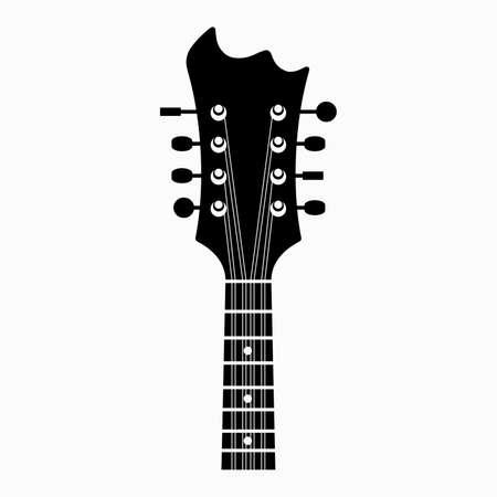 Eight-string non-standard guitar neck and strings Ilustración de vector