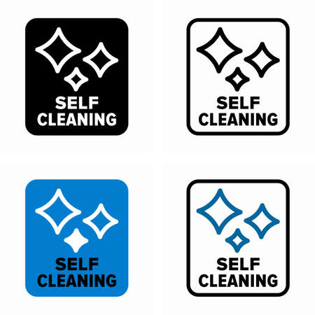 Self cleaning surfaces, ability and functionality information sign Ilustracja