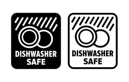 """Dishwasher safe"" to high temperature and detergents information sign"