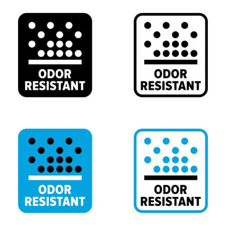 """Odor resistant"" and antibacterial material information sign Vektorové ilustrace"