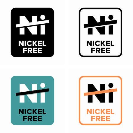 Nickel free, non toxic and non allergic item Ilustración de vector