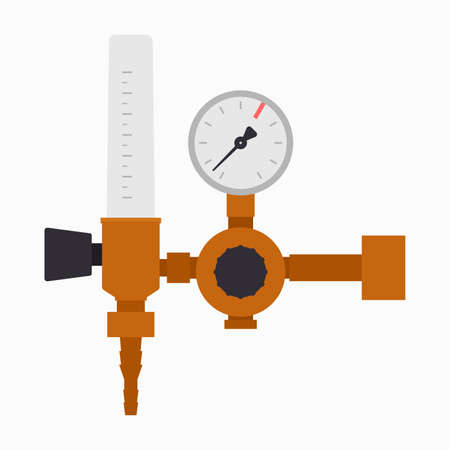 Gas flow regulator, controller with a manometer