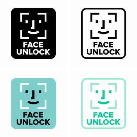 Face unlock recognition system, identifying and verifying technology Çizim