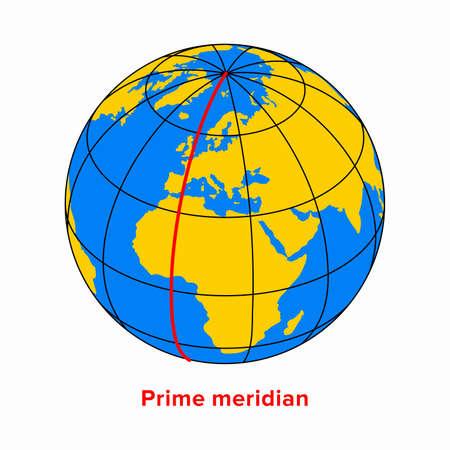 Prime meridian, longitude line in a geographic coordinate system Ilustración de vector