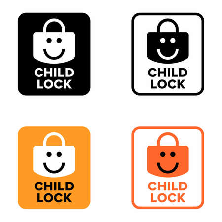 Child lock, safety and protective information sign