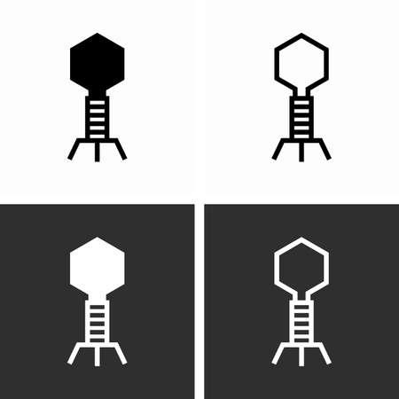Bacteriophage, infecting and replicating phage virus Çizim