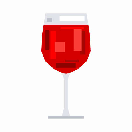 Glass of red wine, pixel flat design