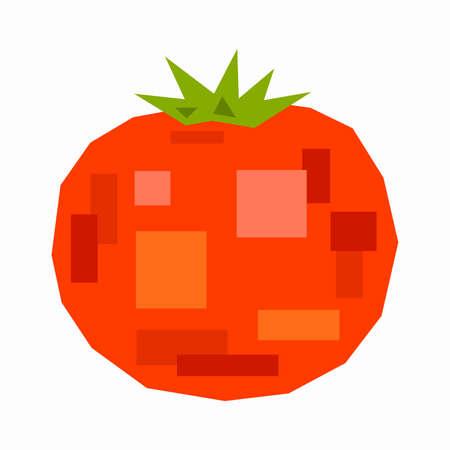 Red tomato, pixel flat design