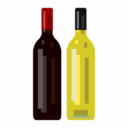 Bottle of red wine and a bottle of white wine, pixel flat design