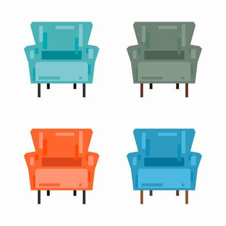 Comfortable armchair, pixel flat design
