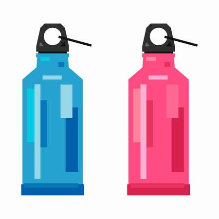 Stylized sport bottle, pixel flat design
