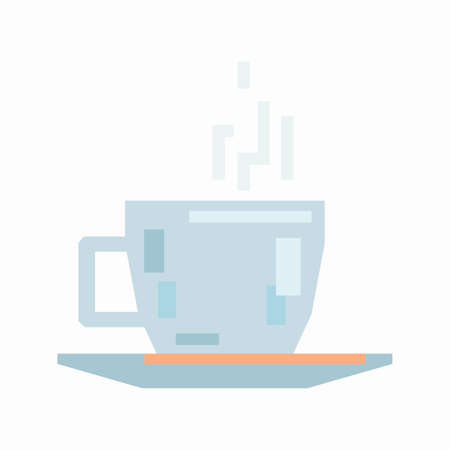 Coffee cup and saucer, pixel flat design
