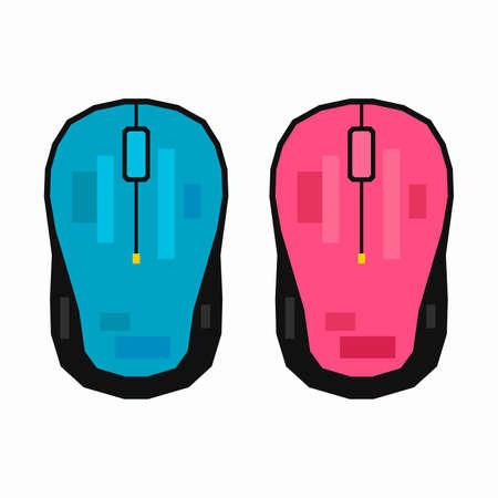 Computer mouse, pixel flat design