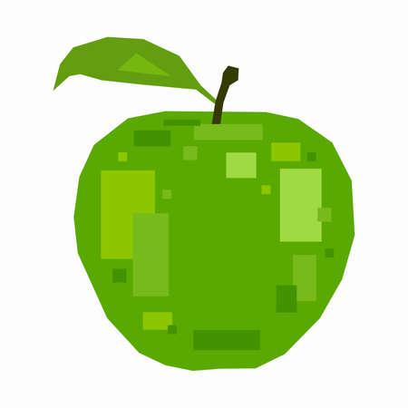 Green apple, pixel flat design