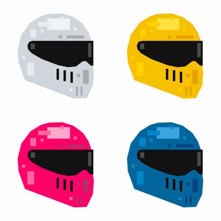 Motorcycle helmet, pixel flat design Çizim