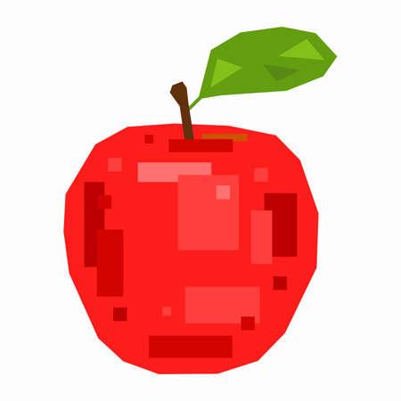 Red apple, pixel flat design