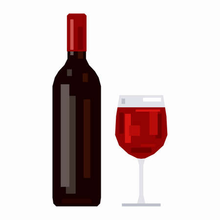 Bottle and a glass of red wine, pixel flat design 矢量图像