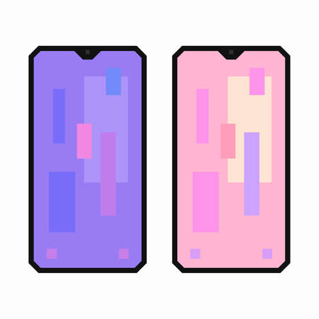 Smart phone, pixel flat design